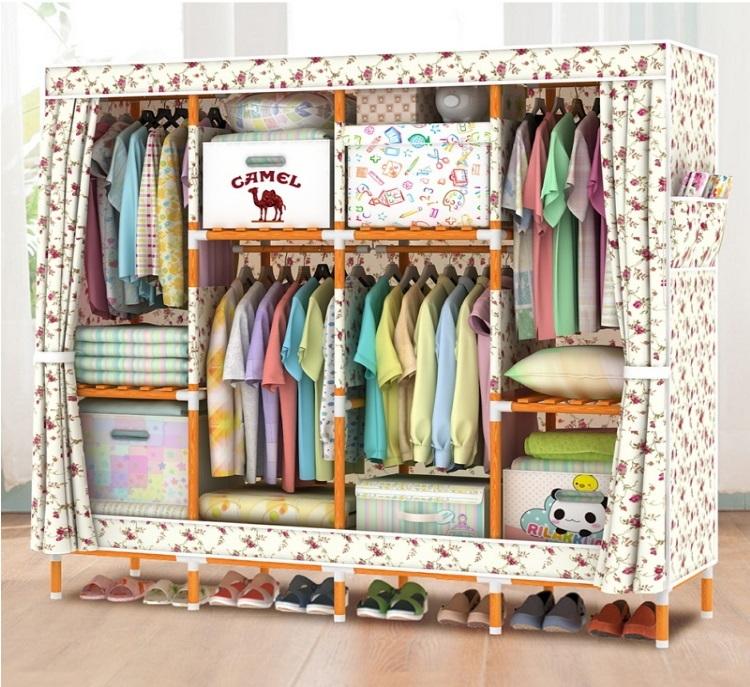 Tủ vải khung gỗ 4 buồng 8 ngăn màu vàng hoa