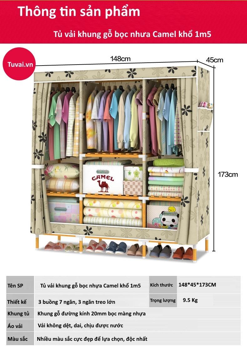 Thông tin sản phẩm tủ vải khung gỗ bọc nhựa Camel khổ 1m5
