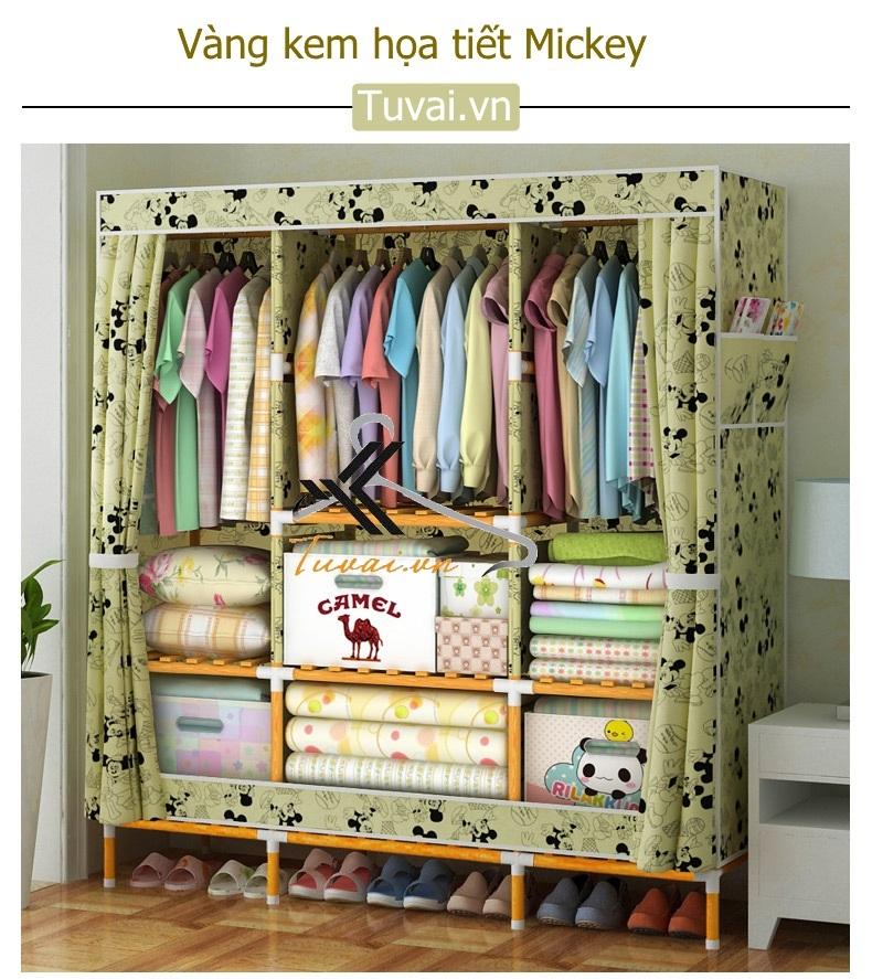 Tủ vải khung gỗ bọc nhựa Camel khổ 1m5 màu vàng mickey