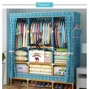 Tủ vải khung gỗ bọc nhựa Camel khổ 1m5 màu xanh chân gấu
