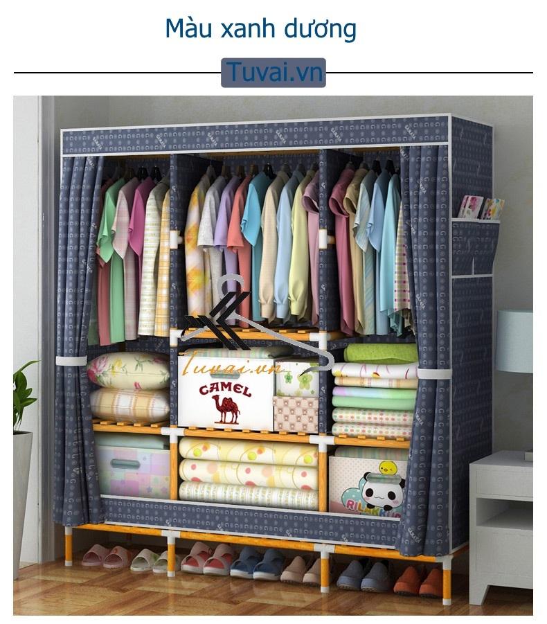 Tủ vải khung gỗ bọc nhựa Camel khổ 1m5 màu xanh dương