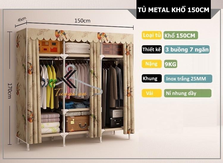 Kích thước tủ Metal khổ 150cm