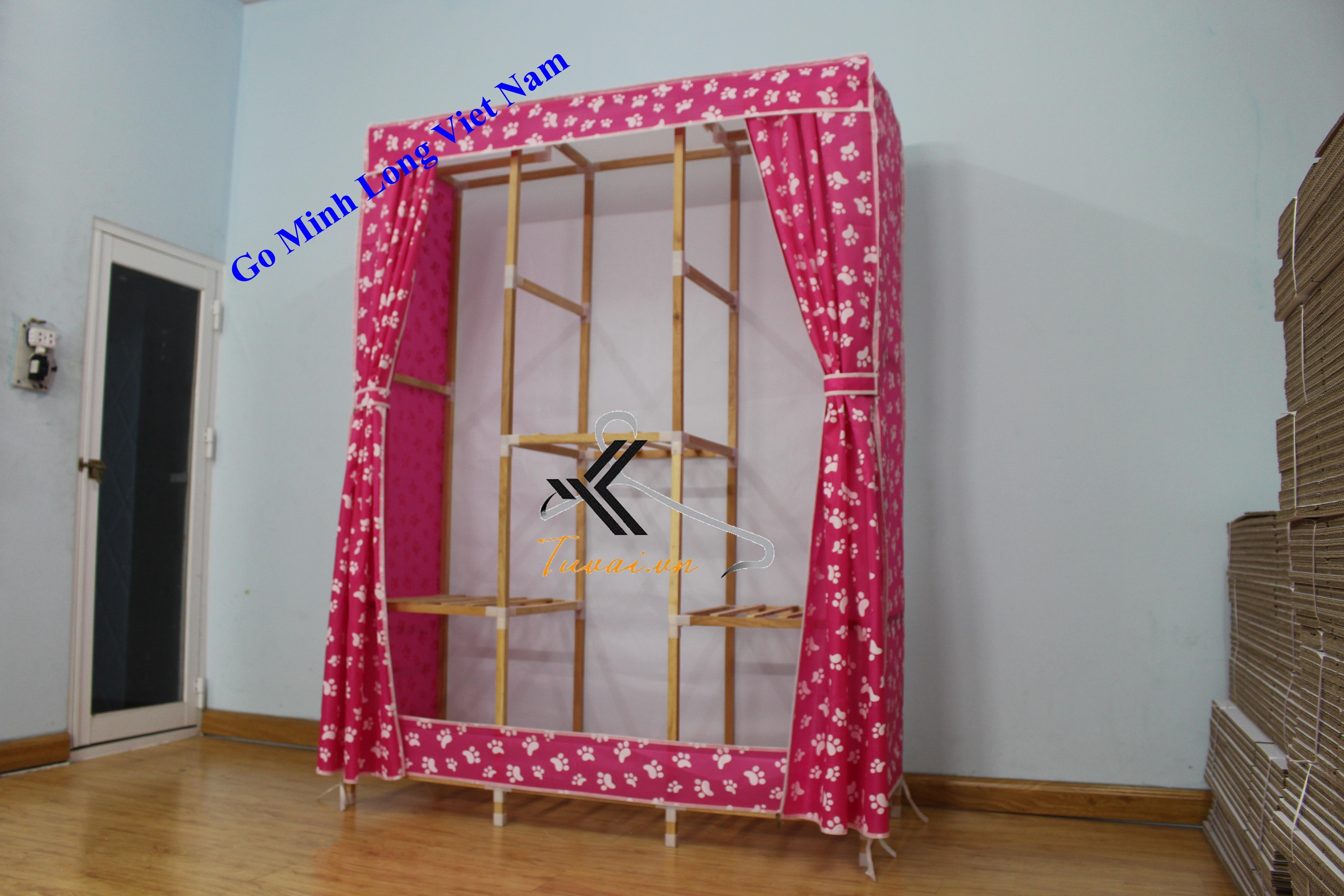 Tủ vải khung gỗ Minh Long khổ 130cm khi mở tủ