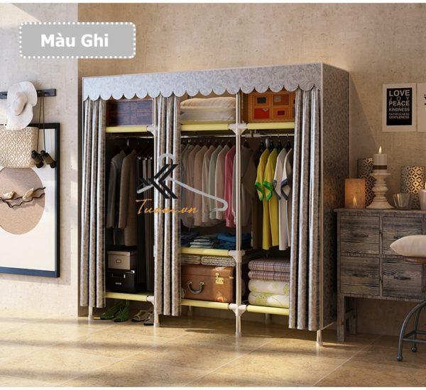 Tủ vải Metal khổ 150cm màu ghi