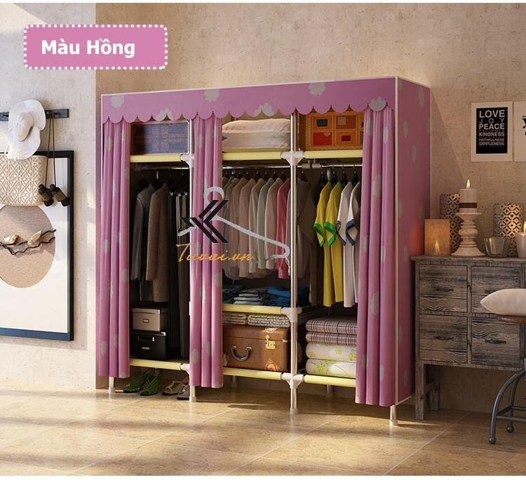 Tủ vải Metal khổ 150cm màu hồng