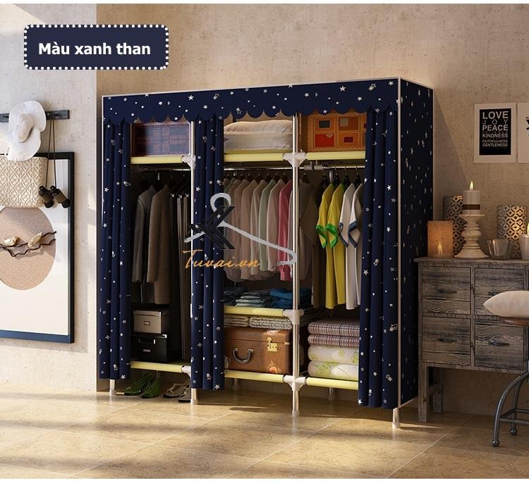 Tủ vải Metal khổ 150cm màu xanh đen
