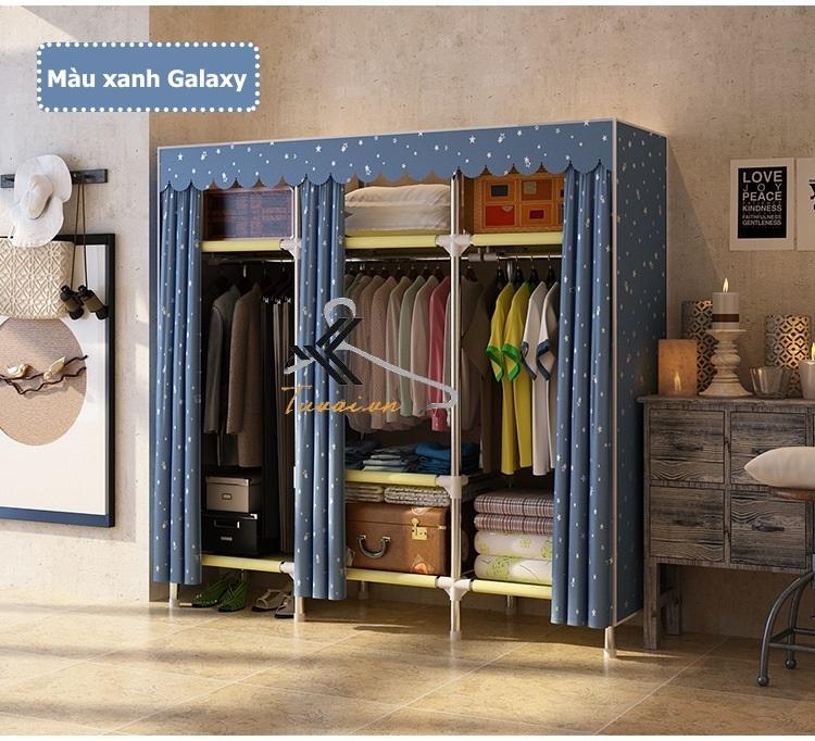 Tủ vải Metal khổ 150cm màu xanh galaxy