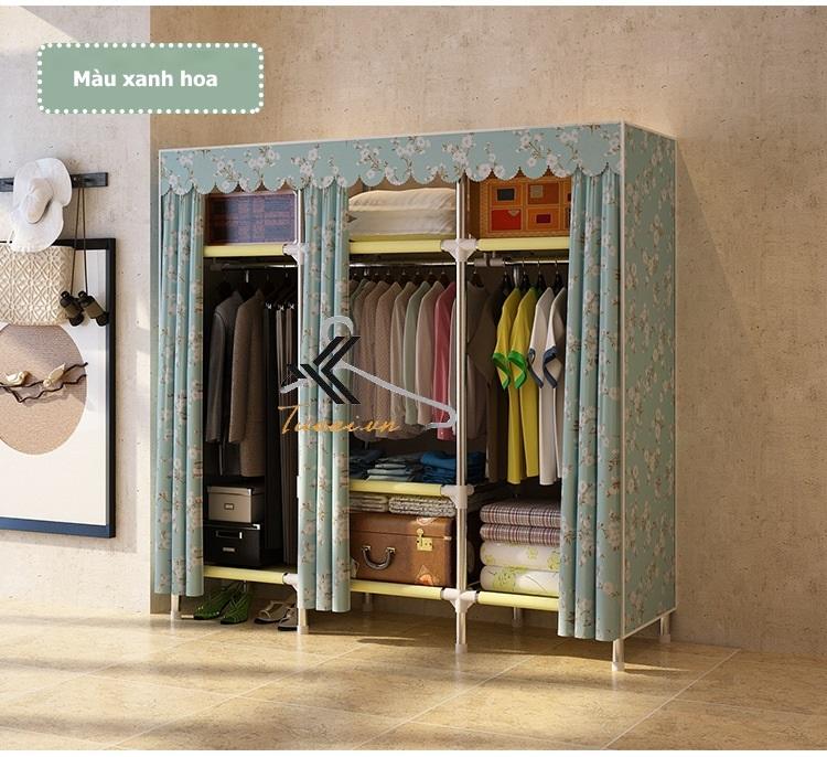 Tủ vải Metal khổ 150cm màu xanh hoa