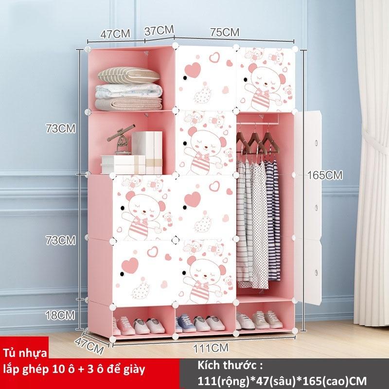 Tủ nhựa lắp ghép 10 ô và 3 ô để giày họa tiết gấu hồng