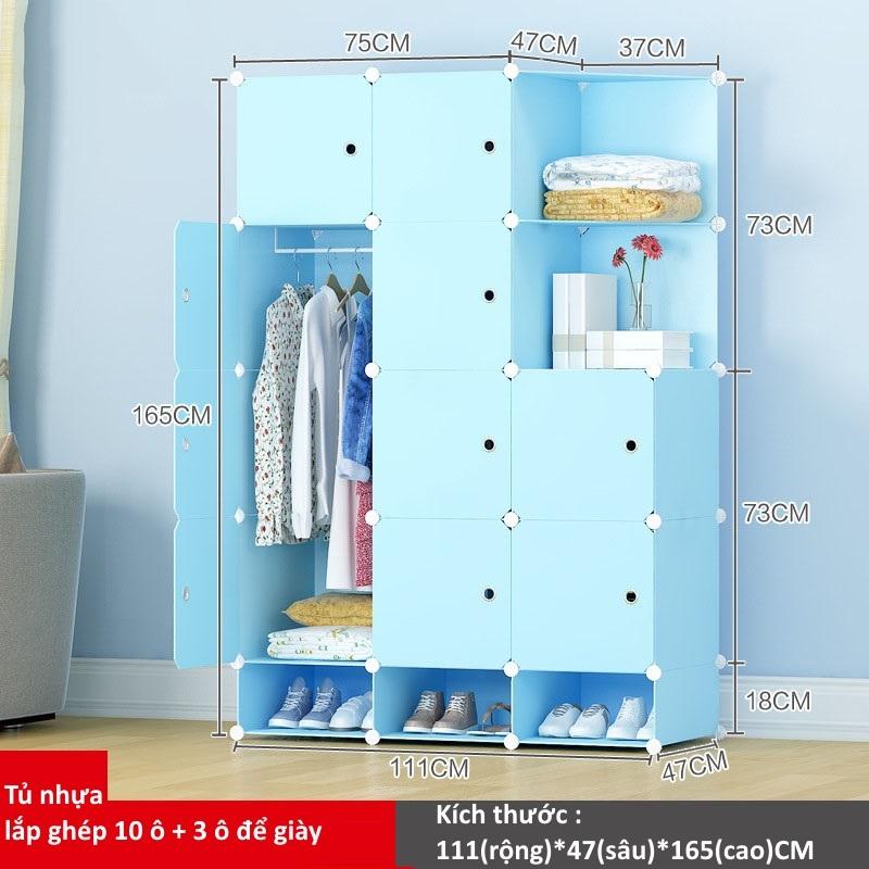 Tủ nhựa lắp ghép 10 ô và 3 ô để giày màu xanh