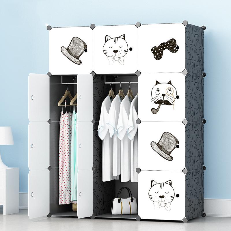 Tủ nhựa lắp ghép 12 ô màu trắng họa tiết 1