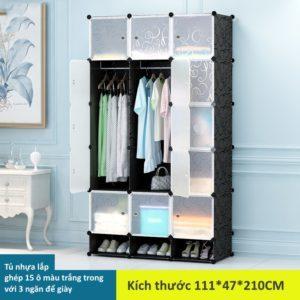 Tủ nhựa lắp ghép 15 ô màu trắng mờ có 3 ngăn để giày