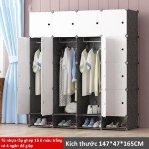 Tủ nhựa lắp ghép 16 ô màu trắng có 4 ngăn để giày