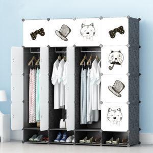 Tủ nhựa lắp ghép 16 ô màu trắng họa tiết 1 có 4 ngăn để giày