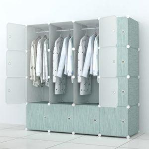 Tủ nhựa lắp ghép 16 ô màu xanh Pastel