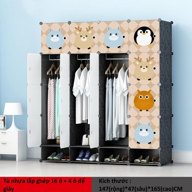 Tủ nhựa ghép 16 ô + 4 ô giày họa tiết Anime