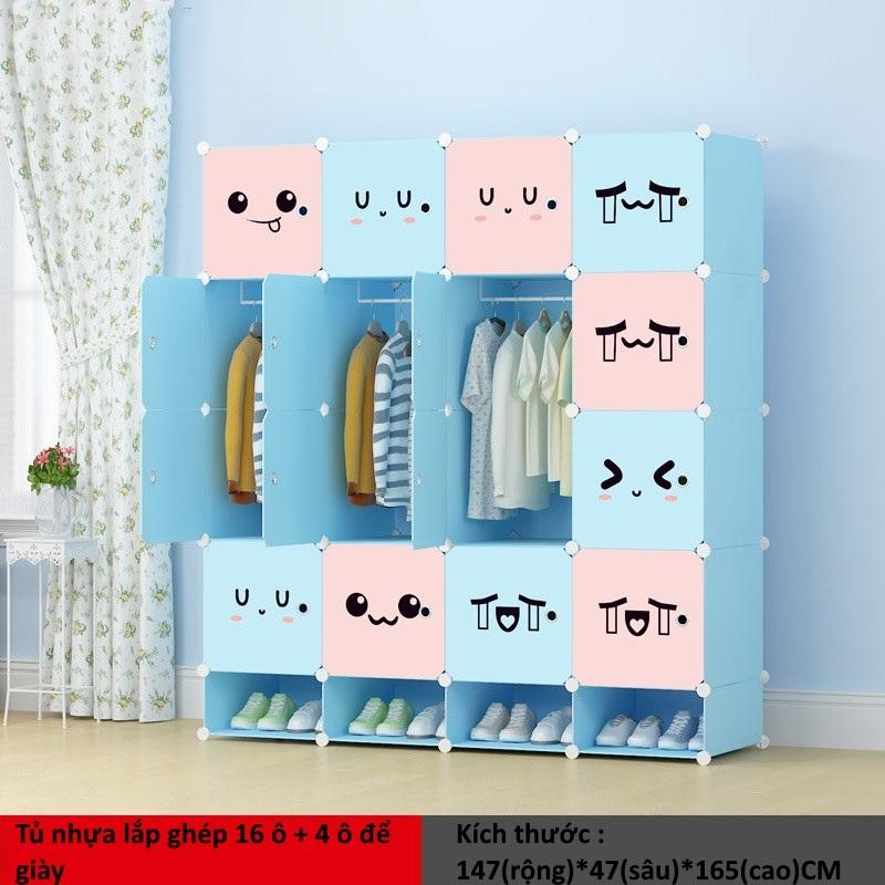 Tủ nhựa ghép 16 ô + 4 ô giày màu hồng xanh