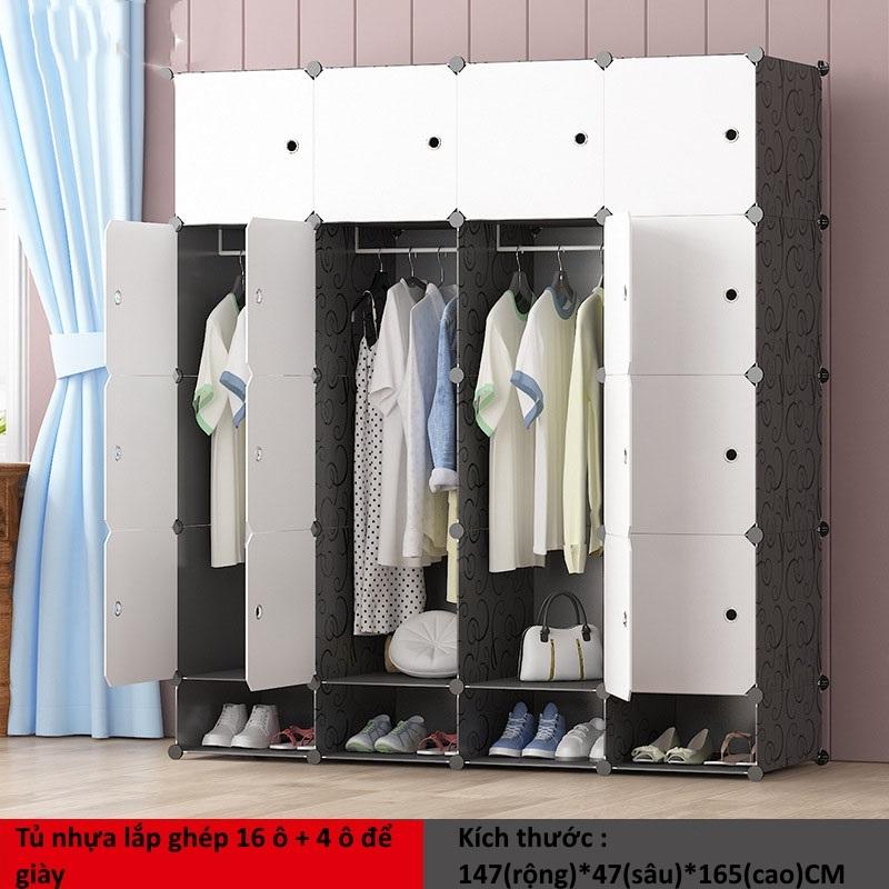 Tủ nhựa ghép 16 ô + 4 ô giày màu trắng