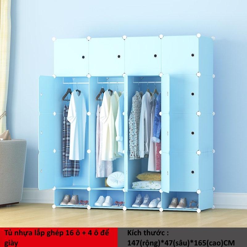 Tủ nhựa ghép 16 ô + 4 ô giày màu xanh