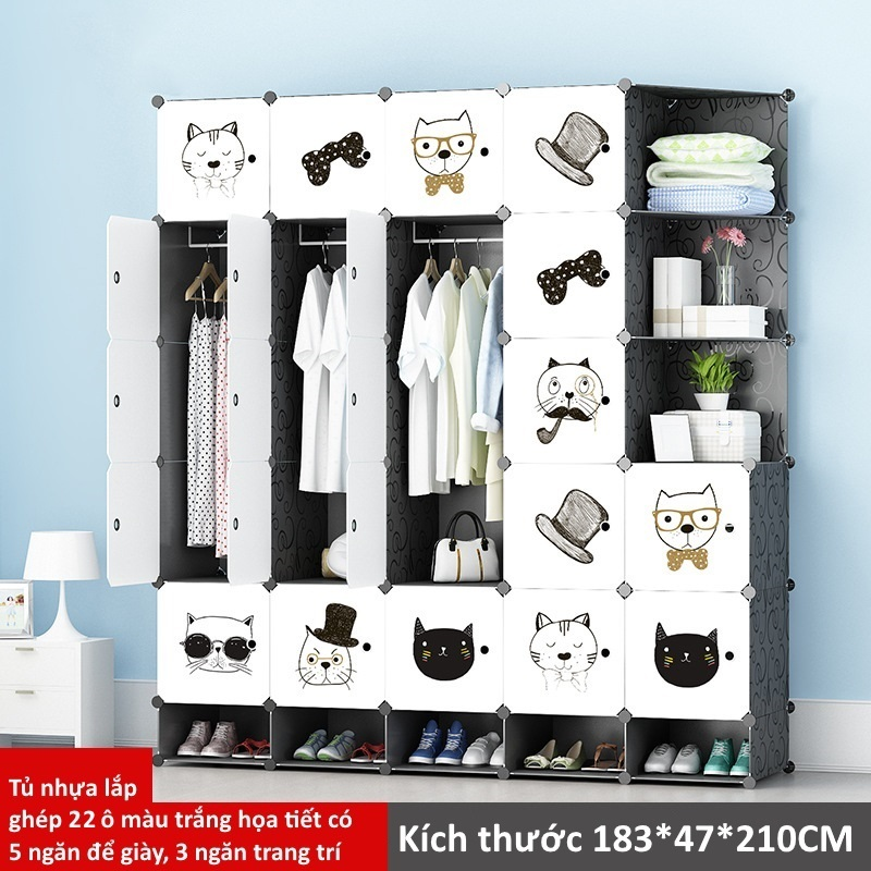 Tủ nhựa lắp ghép 22 ô màu trắng họa tiết có 5 ô để giày và 2 ô trang trí