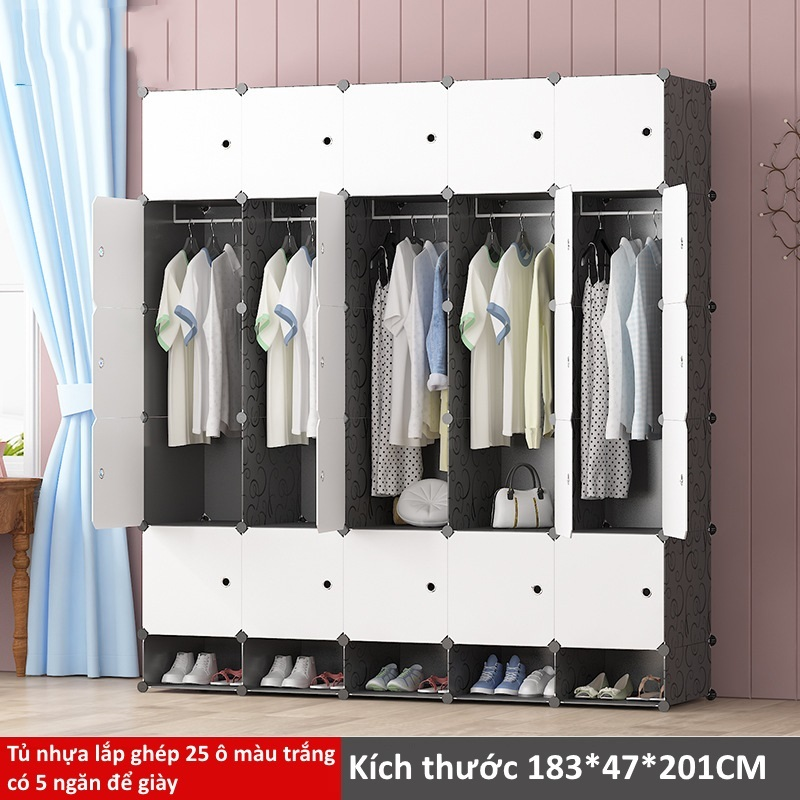 Tủ nhựa lắp ghép 25 ô màu trắng có 5 ngăn để giày