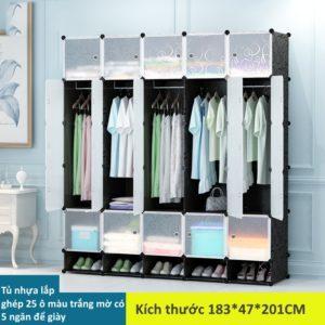 Tủ nhựa lắp ghép 25 ô màu trắng mờ có 5 ngăn để giày