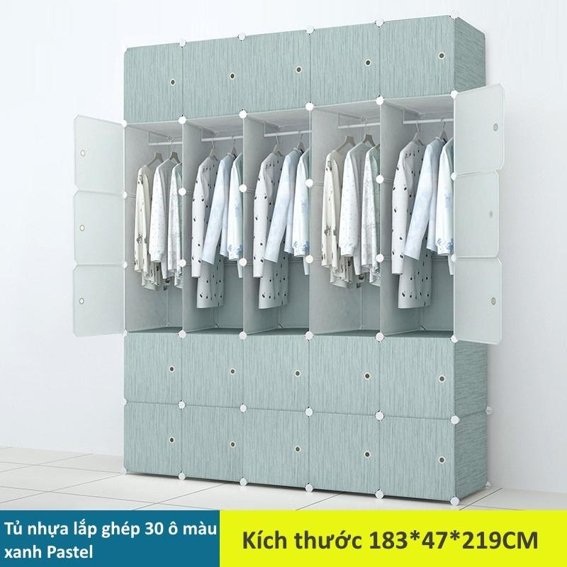 Tủ nhựa lắp ghép 30 ô màu xanh Pastel