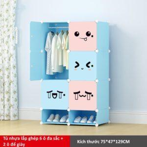 Tủ nhựa lắp ghép 6 ô và 2 ô để giày họa tiết đa sắc hồng xanh