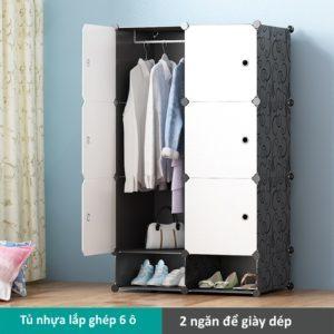 Tủ nhựa lắp ghép 6 ô màu trắng có 2 ngăn để giày