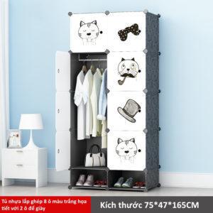 Tủ nhựa lắp ghép 8 ô màu trắng họa tiết 2 có 2 ngăn để giày
