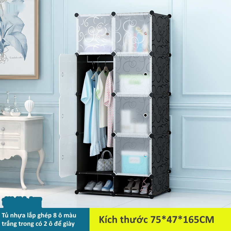 Tủ nhựa lắp ghép 8 ô màu trắng mờ có 2 ngăn để giày