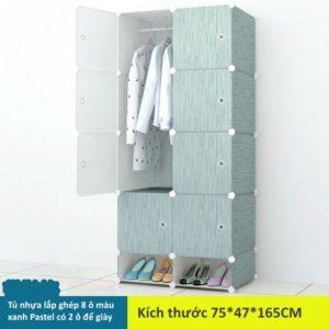 Tủ nhựa lắp ghép 8 ô màu xanh Pastel có 2 ngăn để giày