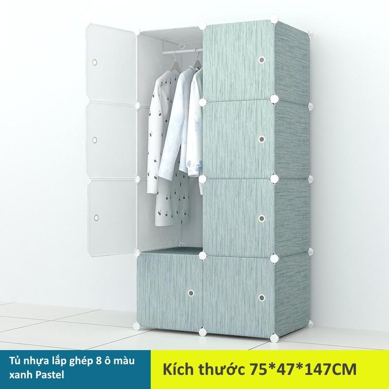 Tủ nhựa lắp ghép 8 ô màu xanh Pastel