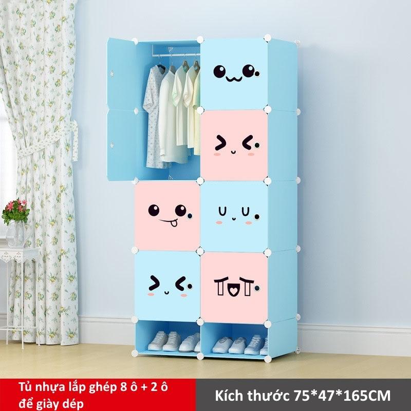 Tủ nhựa lắp ghép 8 ô và 2 ô để giày họa tiết đa sắc