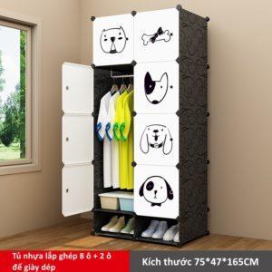 Tủ nhựa lắp ghép 8 ô và 2 ô để giày họa tiết Milu