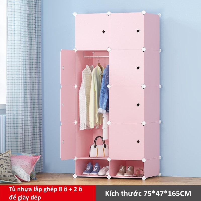 Tủ nhựa lắp ghép 8 ô và 2 ô để giày màu hồng