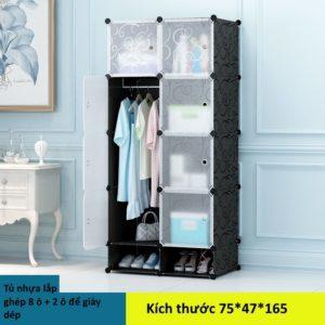 Tủ nhựa lắp ghép 8 ô và 2 ô để giày màu trắng đục