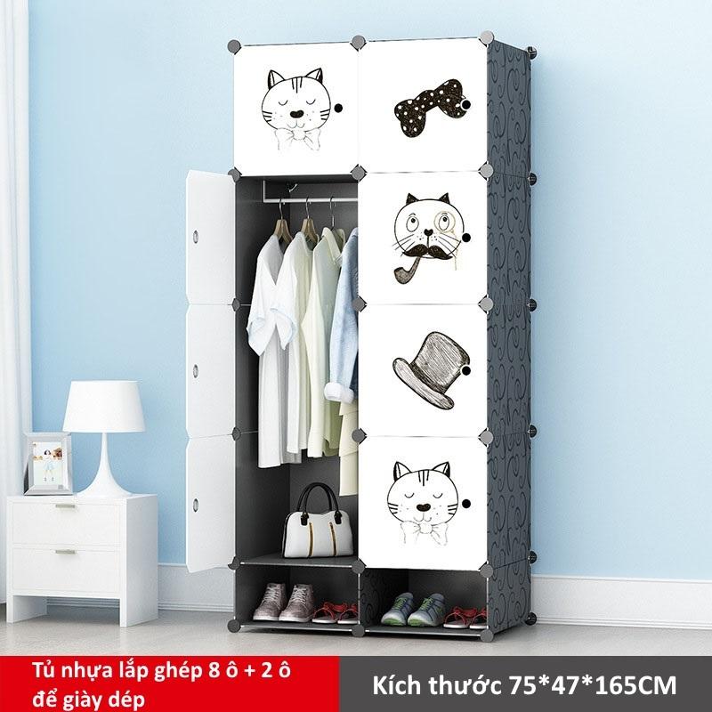 Tủ nhựa lắp ghép 8 ô và 2 ô để giày màu trắng họa tiết