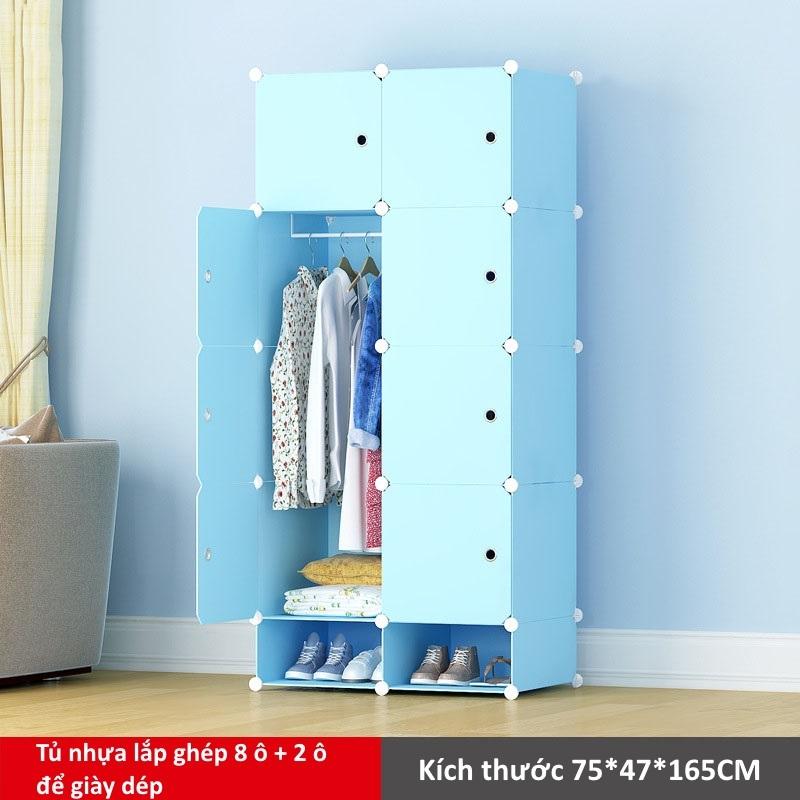Tủ nhựa lắp ghép 8 ô và 2 ô để giày màu xanh dương