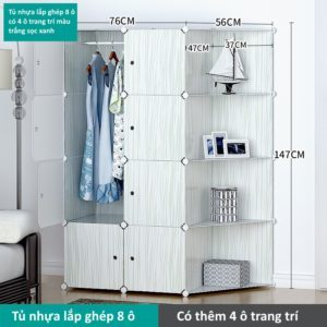 Tủ nhựa lắp ghép 8 ô màu trắng sọc xanh với 4 ô trang trí