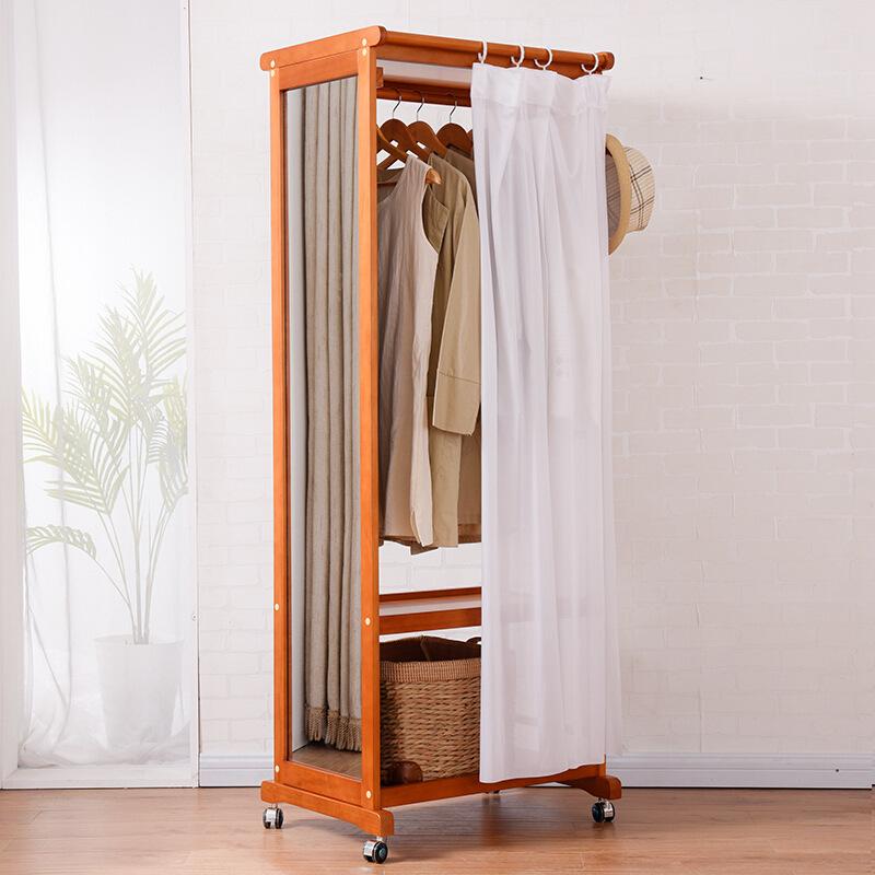 Giá treo quần áo GT07 có gương màu nâu gỗ