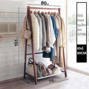 Giá treo quần áo GT08 khổ 80cm màu nâu
