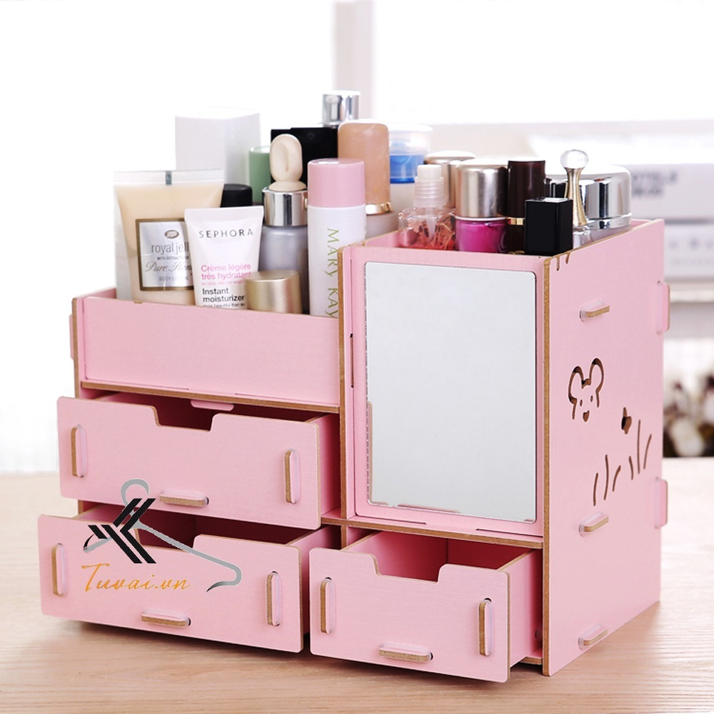 Hộp đựng mỹ phẩm Mixi màu hồng trơn