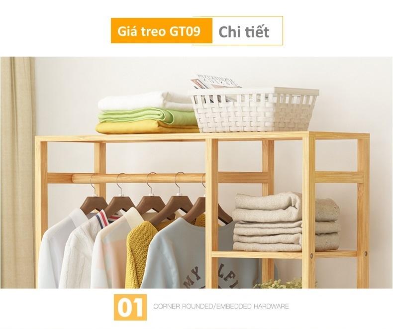 Nóc của giá treo quần áo bằng gỗ GT09