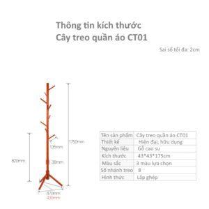 Thông số kỹ thuật của cây treo quần áo CT01