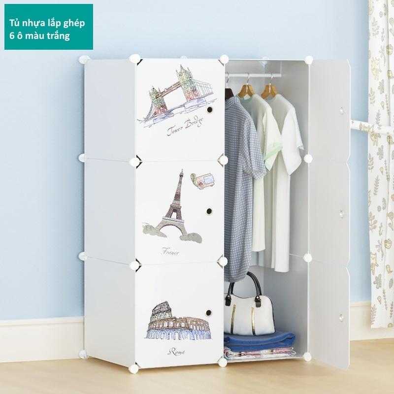 Tủ nhựa lắp ghép 6 ô màu trắng họa tiết 1