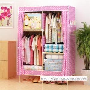 Tủ khung gỗ Lincau màu hồng chấm bi