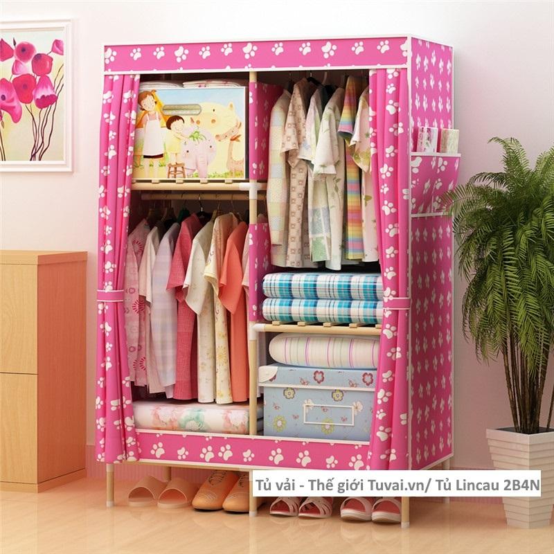 Tủ khung gỗ Lincau màu hồng chân gấu