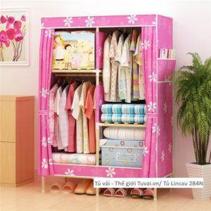 Tủ khung gỗ Lincau màu hồng hoa