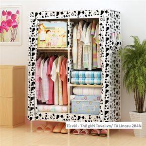 Tủ khung gỗ Lincau màu trắng đen